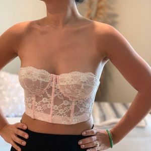 Tops - Forever21 white with pink bralette (NWOT)